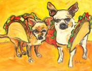Mexican Folklore Paintings - Two good Tacos by Jodie  Scheller