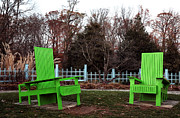 Fall Photos Framed Prints - Two Green Chairs Framed Print by John Rizzuto