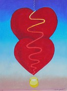 Hearts Pastels Posters - Two Hearts @ Sun Rise Poster by R Neville Johnston