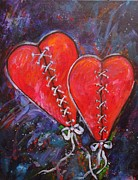Abstract Hearts Paintings - Two Hearts by Carol Suzanne Niebuhr