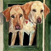 Labradors Prints - Two Hearts Print by Molly Poole