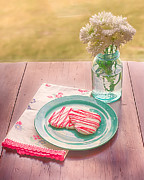 Mason Jars Prints - Two Hearts Picnic Print by Kay Pickens