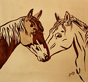 Coffee Art Prints - Two Horses Love original coffee painting Print by Georgeta  Blanaru