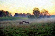 Autumn Landscape Prints - Two Horses Watercolor Print by Terri Gostola