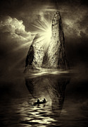Frightening Landscape Prints - Two in a Boat Print by Svetlana Sewell