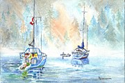 Waterscape Drawings Prints - Two in the Early Morning Mist Print by Carol Wisniewski