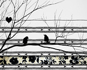 Starlings Digital Art Metal Prints - Two Is Better Metal Print by Gothicolors And Crows