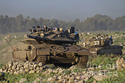 Battletank Prints - Two Israel Defense Force Merkava Mark Print by Ofer Zidon