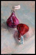 Grey And Pink Prints - Two Kisses Print by Diana Moses Botkin