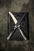 Thriller Metal Prints - Two Knives And A Book Metal Print by Joana Kruse