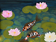 Koi Painting Posters - Two Koi Fish and Lotus Flowers Poster by Oksana Semenchenko