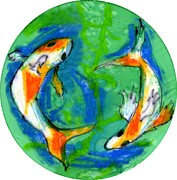 Swimming Mixed Media Posters - Two Koi Fish Poster by Genevieve Esson