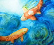 Sea Turtles Paintings - Two Koi by Sol Arts