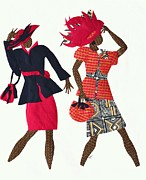 With Tapestries - Textiles Prints - Two Ladies in Red Hats Print by Ruth Ash