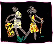 Dark Tapestries - Textiles Prints - Two Lady Drummers Print by Ruth Ash