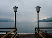 Austria Art - Two lanterns at the jetty pier of Lake Attersee by Menega Sabidussi
