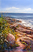 Shoreline Pastels Prints - Two Lights State Park Print by Denise Horne-Kaplan
