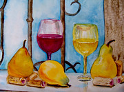 Wine Tasting Prints - Two Lips Tasting Print by Peg Simon-Panetta