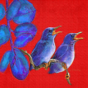 Little Birds Prints - Two Little Birds In Red Print by Jane Schnetlage