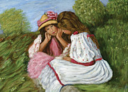 Phil Clark Paintings - Two Little Girls by Phil Clark