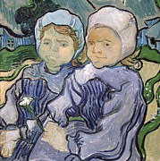 Kids Prints Painting Framed Prints - Two Little Girls Framed Print by Vincent Van Gogh