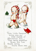 Cards Vintage Digital Art Prints - Two Little Kewpies Print by Munir Alawi