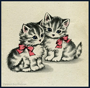 Kisses Drawings - Two little Kittens Happy to be with you.  by Pierpont Bay Archives