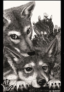 Grey Drawings Framed Prints - Two Little Lobos Framed Print by Miki Krenelka