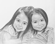 Sisters Drawings - Two little sisters by Laura Dallas