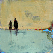 Abstract Paintings - Two Lovers on the Line by Jacquie Gouveia