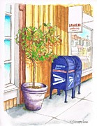 Santa Monica Paintings - Two-mail-boxes-and-a-tree-Santa-Monica-CA by Carlos G Groppa