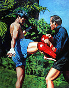 Kick Boxing Framed Prints - Two Masters Framed Print by Mike Walrath