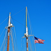 Kirsten Giving Prints - Two Masts and the Flag of the USA Print by Kirsten Giving