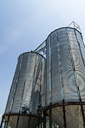 Warehousing Posters - Two metal silo Poster by Tosporn Preede
