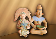 Clay Sculpture Framed Prints - Two Mexican Art Figures Framed Print by Linda Phelps