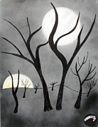 Pen And Ink Drawing Prints - Two moons Print by Fred Miller