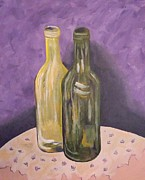 Wine Bottle Paintings - Two More Bottles of Wine by Tanja Beaver