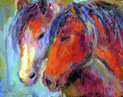Western Drawings Posters - Two mustang horses painting Poster by Svetlana Novikova