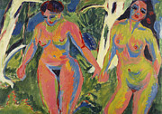 Lesbianism Framed Prints - Two Nude Women in a Wood Framed Print by Ernst Ludwig Kirchner
