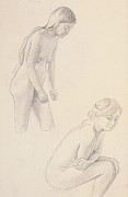 Female Figure Drawings Drawings Posters - Two nudes  Poster by Felix Edouard Vallotton