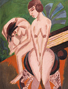 Expression Painting Framed Prints - Two Nudes in the Room Framed Print by Ernst Ludwig Kirchner