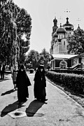 Russian Cross Photo Framed Prints - Two Nuns- black and white - Novodevichy Convent - Russia Framed Print by Madeline Ellis