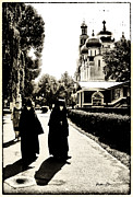 Russian Cross Photo Framed Prints - Two Nuns - sepia - Novodevichy Convent - Russia Framed Print by Madeline Ellis