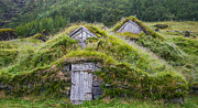 Turf Digital Art - Two old icelandic houses by Patricia Hofmeester