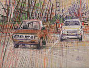 Transportation Pastels Originals - Two Old Trucks by Donald Maier