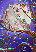 Snowy Night Paintings - Two OwlClock by Kyra Wilson
