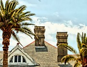 Two Palms Two Chimneys And Gable Print by James Stough