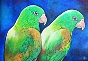 Parakeet Pastels Prints - Two Parakeets Print by Linda Weldon
