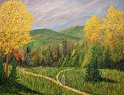 Hiker Paintings - Two Paths by Gary Adams
