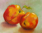 Peaches Painting Prints - Two Peaches Print by Michelle Abrams